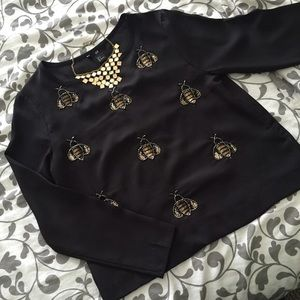 Sequin Bumble Bee Chiffon Top H&M NWT